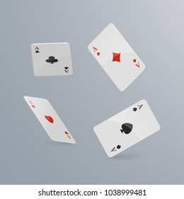 Playing cards falling on light background. isometric and 3D. Vector illustration.