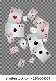 Playing cards falling on transparent background. Vector illustration