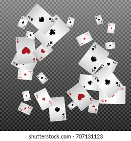 Playing cards falling on a transparent background. Vector illustration.