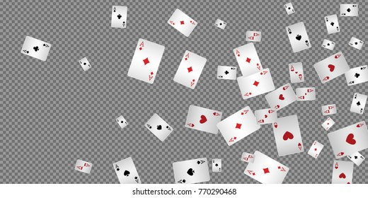 Playing cards falling on transparent background. Vector illustration.
