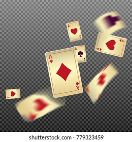 Playing cards falling on transparent background. Vector illustration in vintage style.
