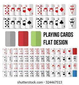 Playing cards in flat style. Full set with two jokers
