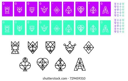 Playing Cards. Full set. Vector icons.