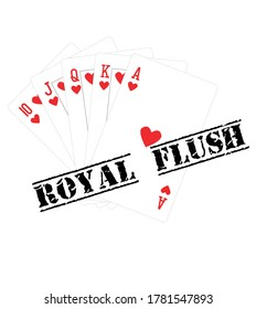 Playing cards hand showing Royal Flush