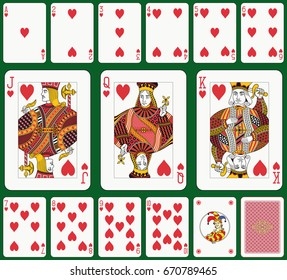 Playing cards, heart suit, joker and back. Faces double sized. Green background in a separate layer