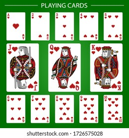 Playing cards of Hearts on a green background. Vector illustration.  Original design.