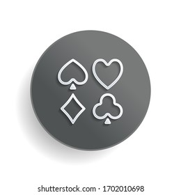 Playing cards. Hearts, spades, diamonds, clubs. Linear style. White paper symbol on gray round button or badge with shadow