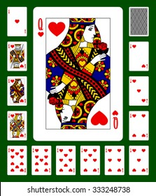 Playing cards of Hearts suit and back on green background. Faces double sized. Original design. Vector illustration