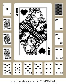 Playing cards of Hearts suit in black and white. Original design. Vector illustration