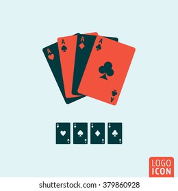 Playing cards icon. Ace playing cards icon isolated, minimal design. Vector illustration