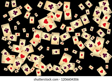 Playing Cards on Black Background. Vector illustration in vintage style.