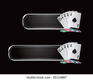 playing cards on checkered tabs