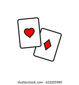 Playing cards outline icon.