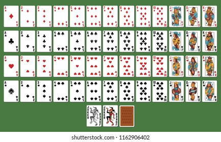 Playing cards. Poker, Black jack. Full deck. set of vector cards on green background.