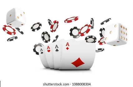 Playing cards, poker chips and dice fly casino on white background. Poker casino vector illustration. Online casino game gambling 3d vector concept, poker mobile app icon.