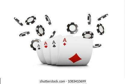 Playing cards and poker chips fly casino. Concept on white background. Poker casino vector illustration.