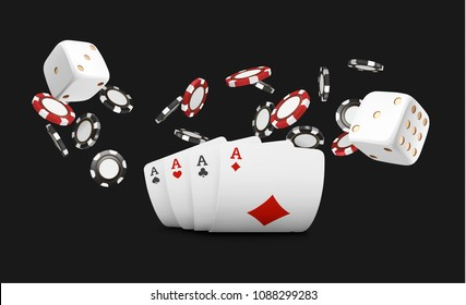 Playing cards and poker chips fly casino. Concept on black background. Poker casino vector illustration. Red and black realistic chip in the air. Gambling concept, poker mobile app icon.