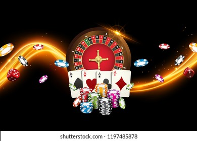 Playing cards and poker chips fly casino. Concept banner with roulette on black background. Vector illustration