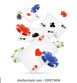 Playing Cards and Poker Chips Fly Casino Concept on a Light Background. Vector illustration
