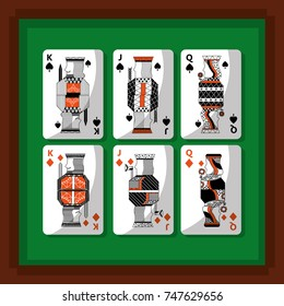 playing cards poker kings and queen spade and diamond green background