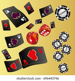 Playing Cards and red dice realistic gambling poster banner. Vector illustration