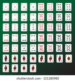 Playing Cards Set - Isolated On Green Background - Vector Illustration, Graphic Design Editable For Your Design.