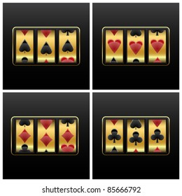 playing cards slot machine against white background, abstract vector art illustration