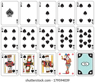Playing cards spade suit, joker and back