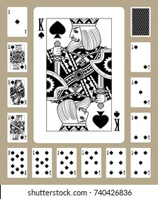 Playing cards of Spades suit in black and white. Original design. Vector illustration