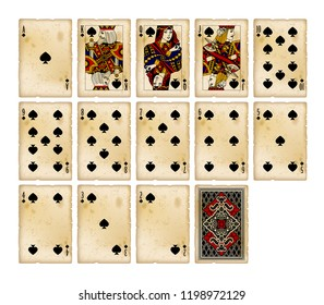 Playing cards of Spades suit in vintage style. Original design. Vector illustration