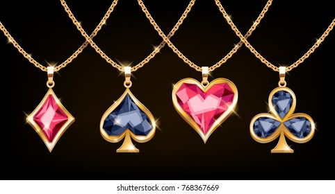 Playing cards suits symbols golden pendants with gemstones set. Vector illustration.
