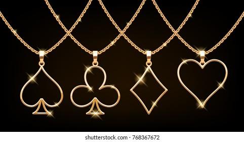 Playing cards suits symbols golden pendants set. Vector illustration.
