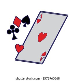 playing cards symbols and ace of heart card icon over white background, vector illustration