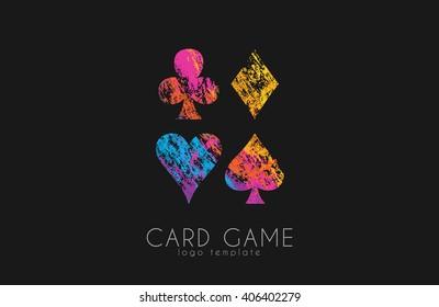 Playing cards symbols. Card game logo. Casino logo