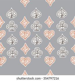Playing cards symbols. Hand drawn pattern. Ukraine