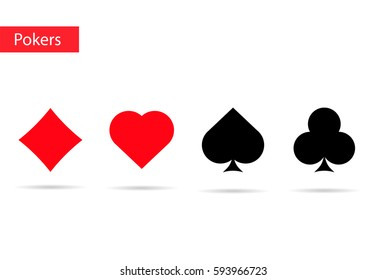 Playing cards  symbols . Pokers icons.