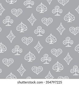 Playing cards symbols seamless texture. Hand drawn pattern. Ukraine
