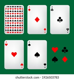 Playing cards and symbols, vector illustration.