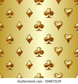 Playing cards yellow gradient seamless background.