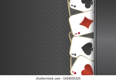 Playing cards.Metal background.Playing aces of all stripes
