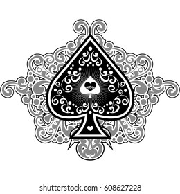 playing card,vintage ace of spades,