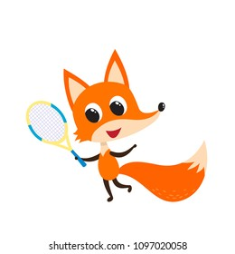 Playing cheerful fox with tennis racket isolated on white. Vector illustration of cute cartoon animal used for magazine, web pages, scrapbooking, stickers.