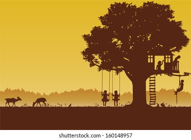 Playing children silhouette at park, vector