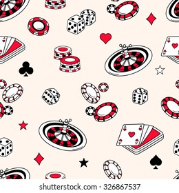 Playing chips and cards seamless pattern. Doodle backdrop vector. Background with game icons and casino icons. Sketch objects. Decorative wallpaper, good for printing. Wrapping design