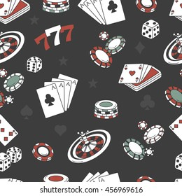 Playing chips and cards seamless pattern. Doodle background vector. Game icons and casino icons on black background. Sketch objects