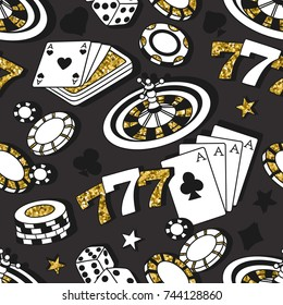 Playing chips and cards seamless pattern. Colorful background vector. Hand drawn overlapping backdrop. Decorative wallpaper, good for printing