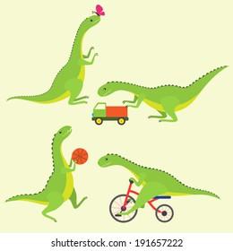 Playing dinosaur kids. Vector set.