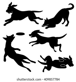 Playing dog silhouettes collection. EPS 10 vector.