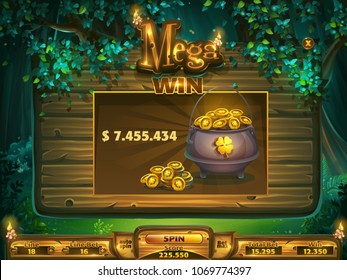 Playing field mega win window for game user interface. Vector illustration screen to the computer game Shadowy forest GUI. Background image to create buttons, banners, graphics.