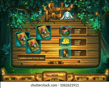 Playing field slots game for game user interface. Vector illustration screen to the computer game Shadowy forest GUI. Background image to create buttons, banners, graphics.